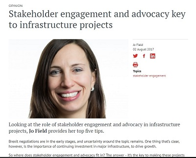 Jo Field in Infrastructure Intelligence - Stakeholder engagement and advocacy key to infrastructure projects