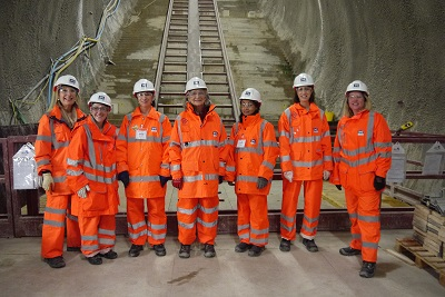 Image of Jo Field and Women in Transport board members on site visit to Crossrail, Farringon site