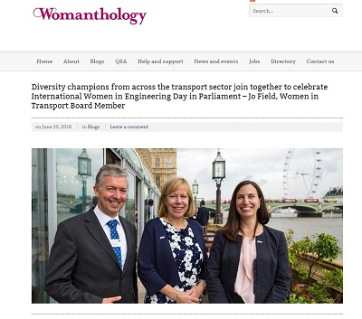 Image of Jo Field's article in Womanthology magazine for International Women in Engineering Day