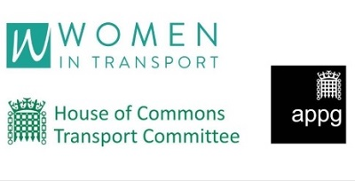 Image of the logos of Women in Transport, the Transport Select Committee and the APPG for Women in Transport