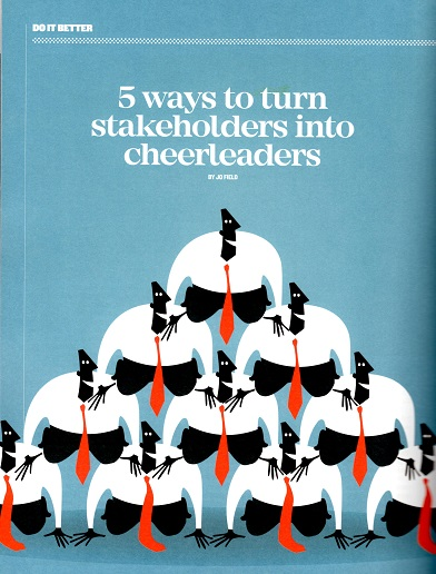 Image of Jo Field's blog in Influence Magazine - '5 ways to turn stakeholders into cheerleaders'
