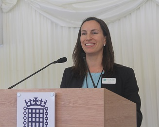 Image of JFG Communications Founder, Jo Field, speaking at an event in Parliament