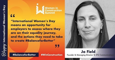 Image of Jo Field  - what does international women's day mean to you? Women in Construction promo image