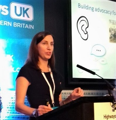 Jo Field speaking at Highways UK November 2017 on stakeholder engagement