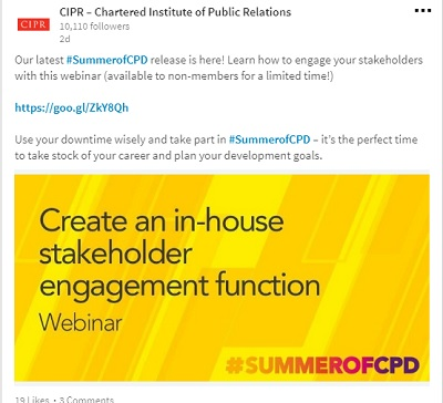 Image of CIPR webinar on how to create an in-house stakeholder engagement function