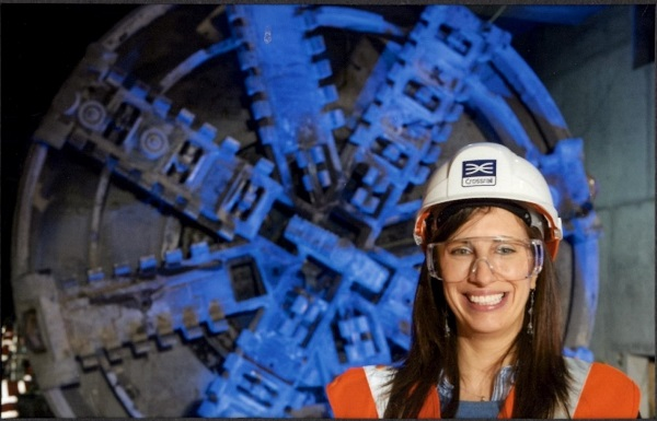 Image of Jo Field at Crossrail TBM breakthrough Canary Wharf 2013