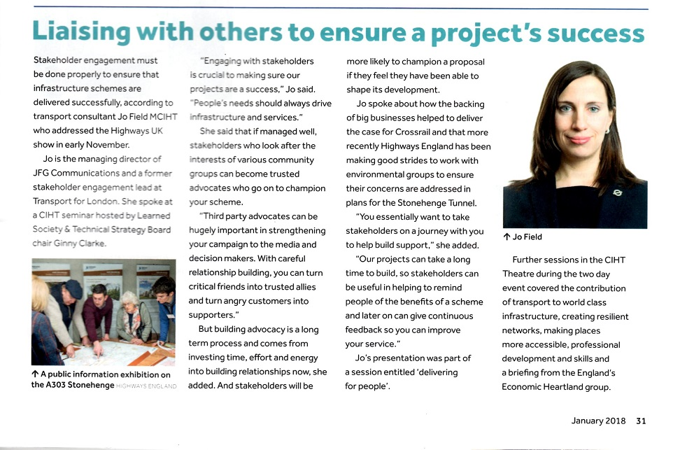 Image of Jo Field speaking at Highways UK conference - article in Transportation Professional magazine