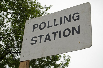 General Election polling station sign
