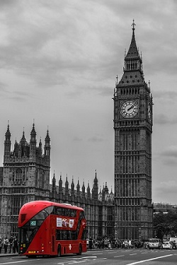Photo of Parliament, Big Ben and London bus