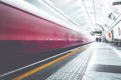 Image of a train leaving London Underground platform