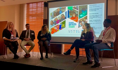 Katie Kelleher and apprentice panel at launch of Transport Infrastructure Skills Strategy 3 years of progress report
